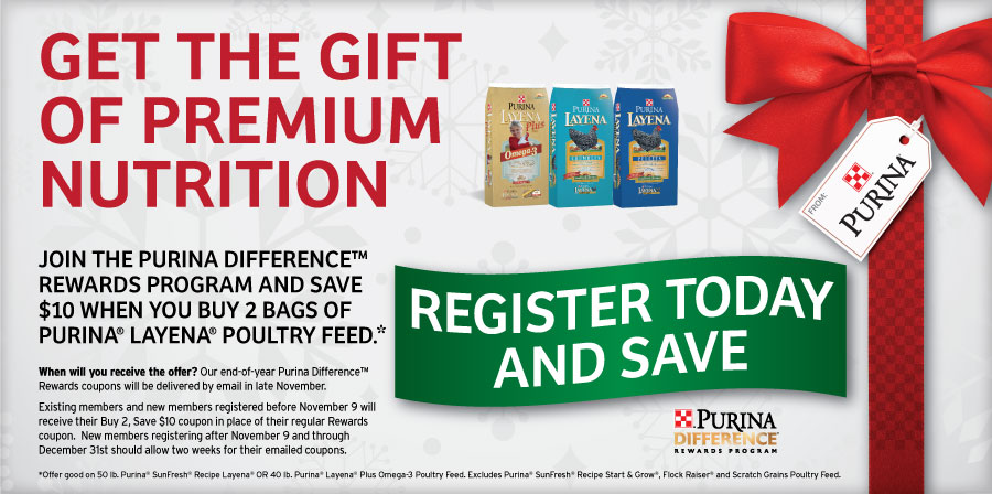 poultryofferbanner1 Save $10 on Purina Layena Feed
