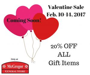 Valentine Sale Feb 10 14 2017 Mcgregor General Store