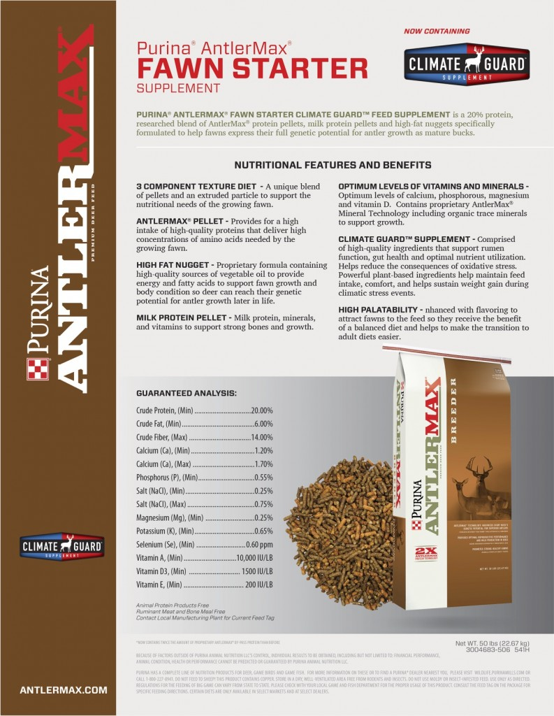 Purina AntlerMax Fawn Starter 793x1024 Now Available: Purina AntlerMax Fawn Starter